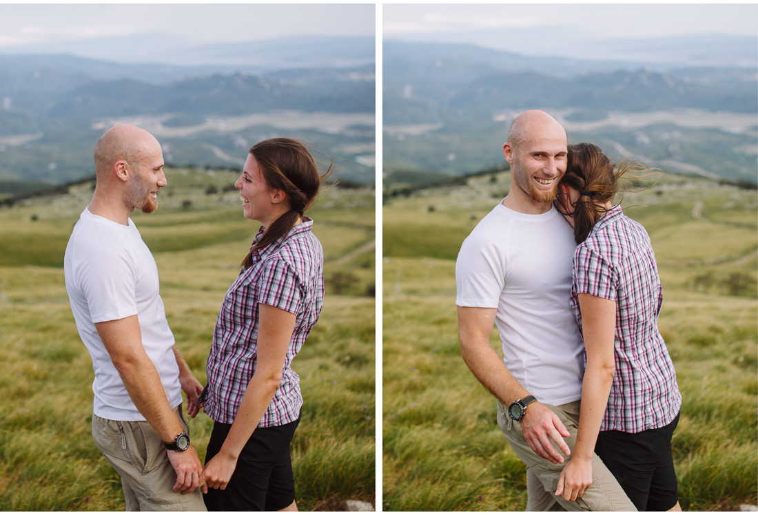 couple on a mountain engagement session