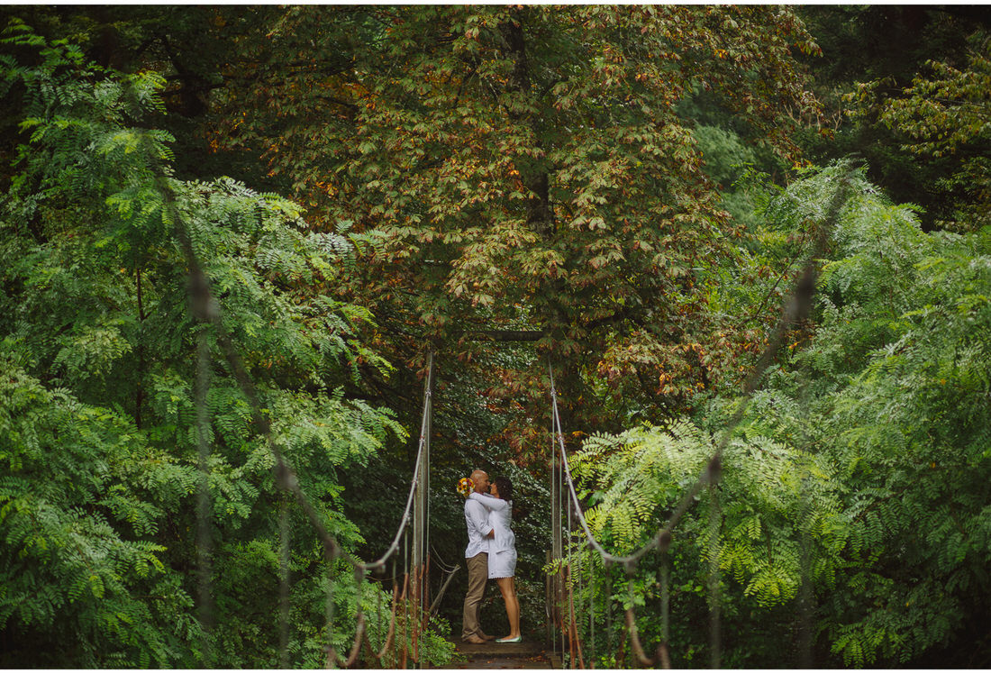 suspension bridge wedding session
