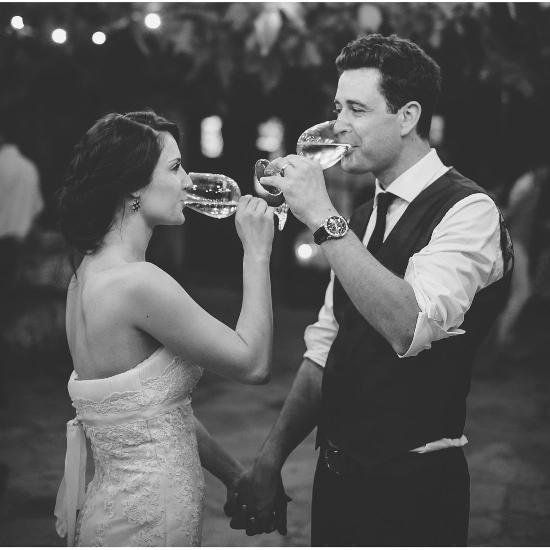 istria wedding bride and groom drink wine
