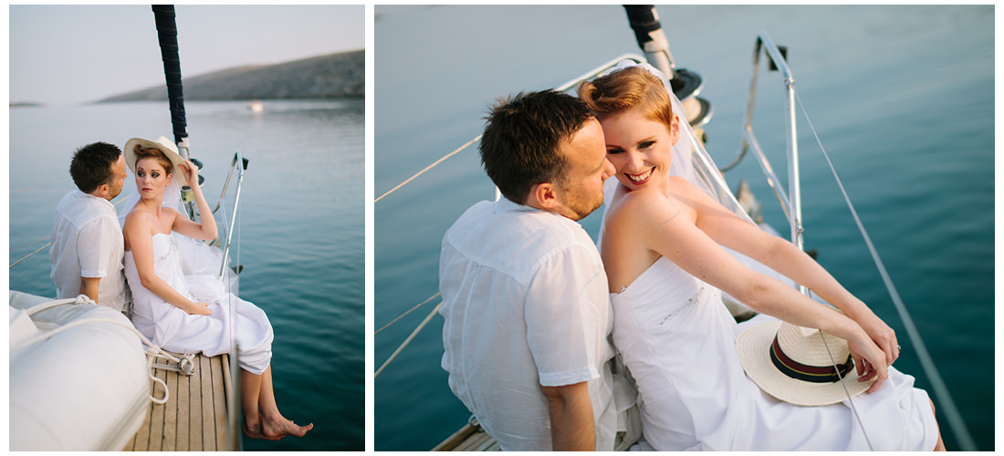 cute bride and groom on a boat