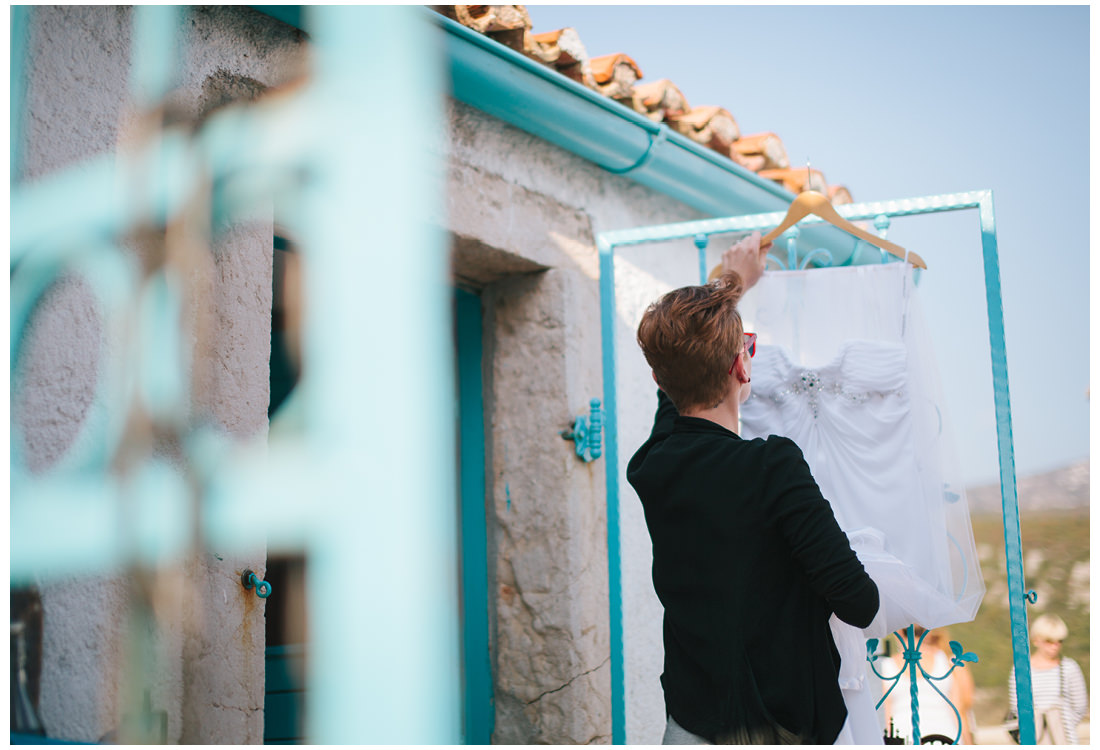 bride preparing a wedding dress on krk island