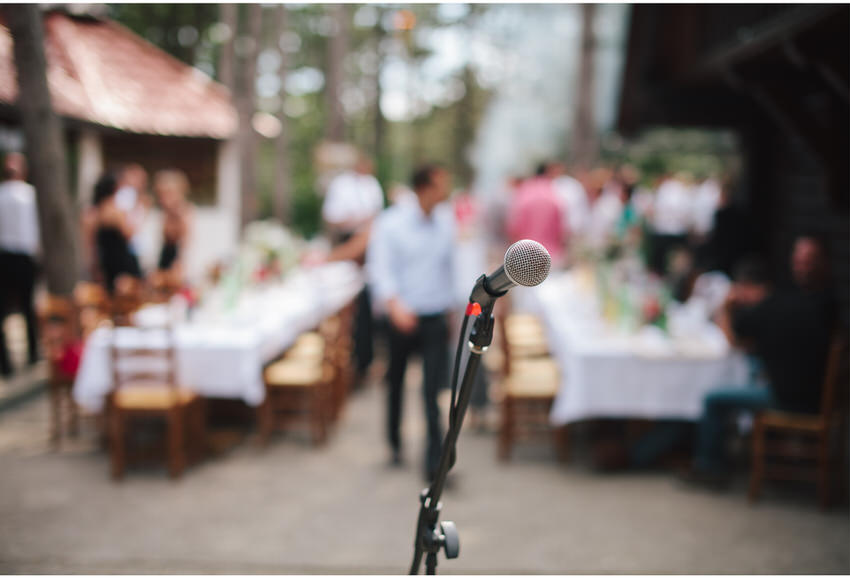 mic check at a forest wedding