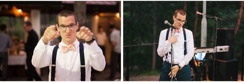 groom dance at a forest wedding