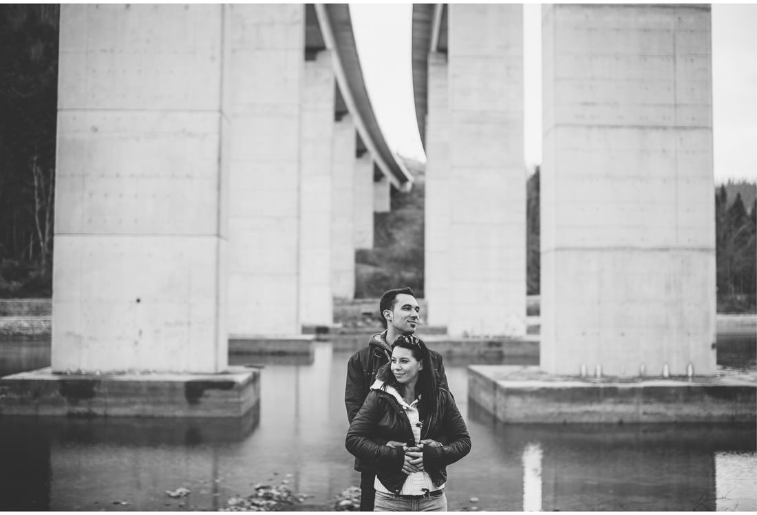 fuzine engagement session under the bridge in croatia