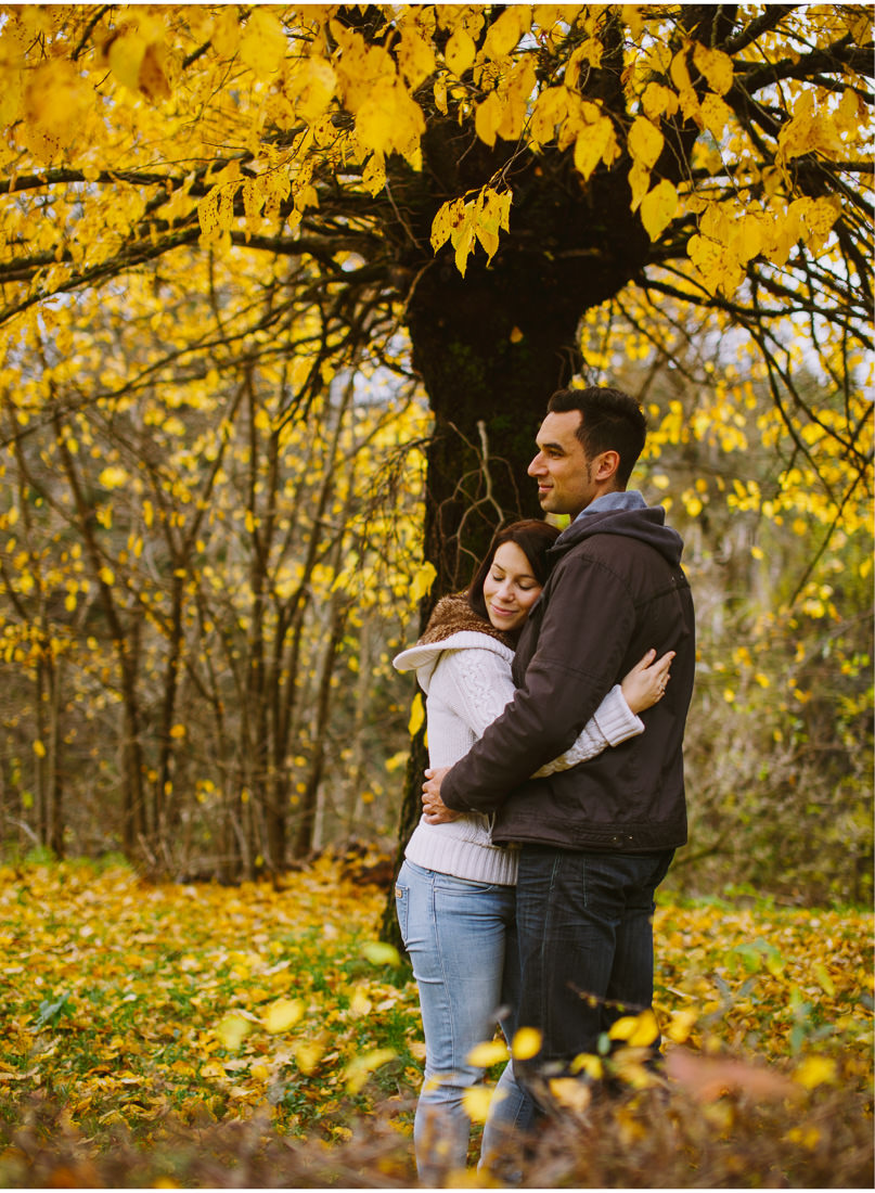 hug under the yellow tree