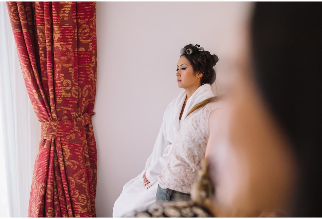 chinese woman sitting in bath robe