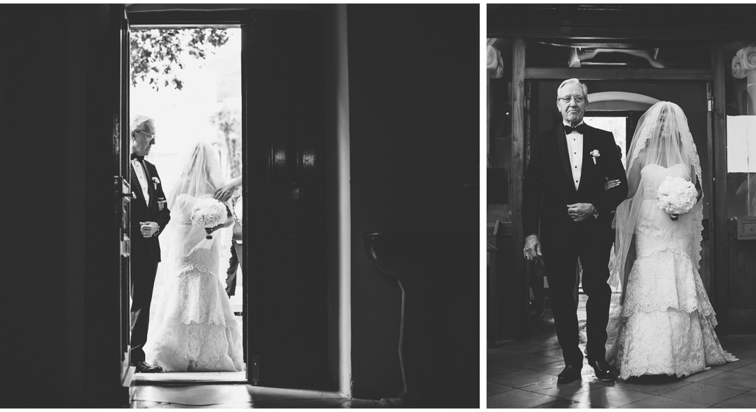 bride entering church with her father