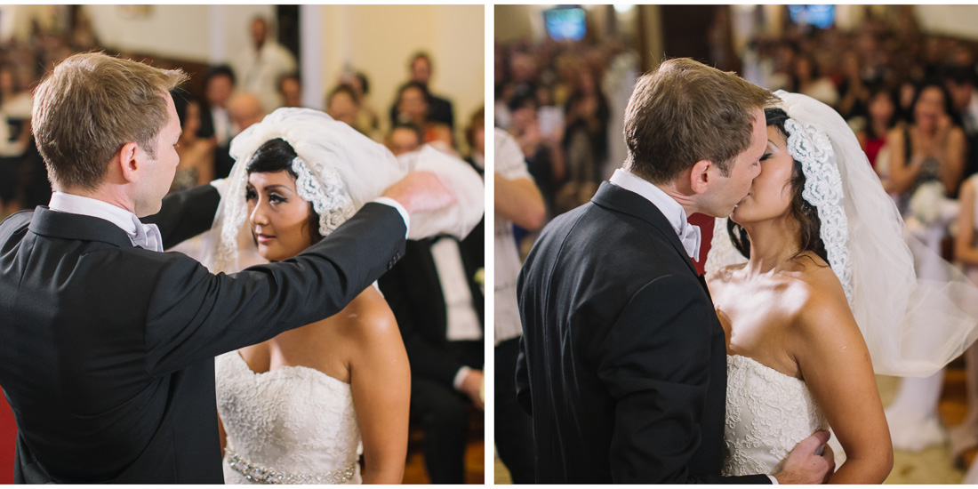 first kiss bride and groom