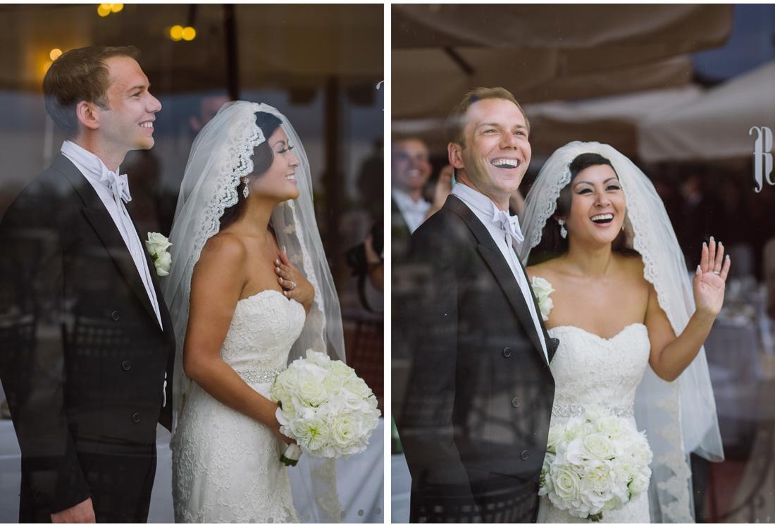 happy bride and groom