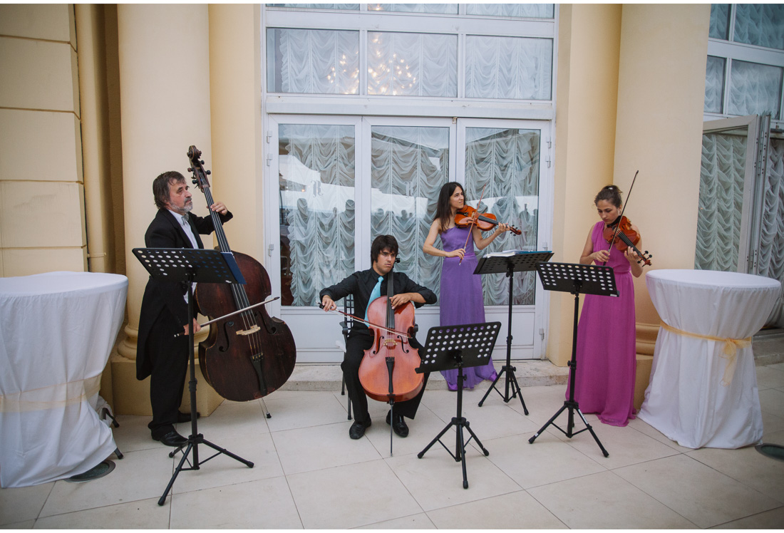 classical band playing at a wedding