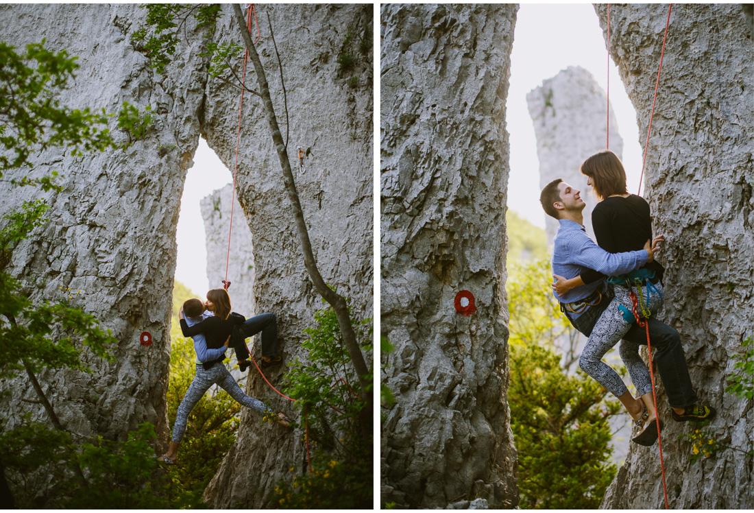 rock climbing engagement on ucka mountain croatia