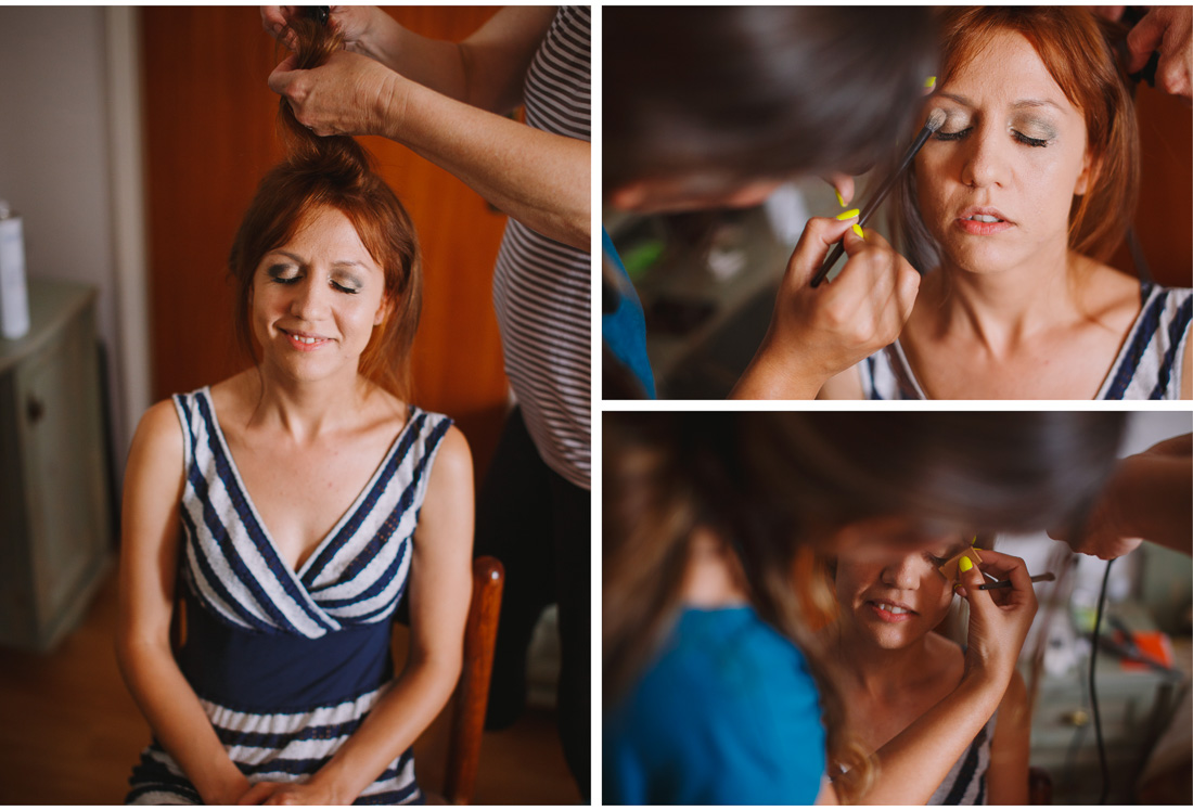 beautiful bride getting her make-up on