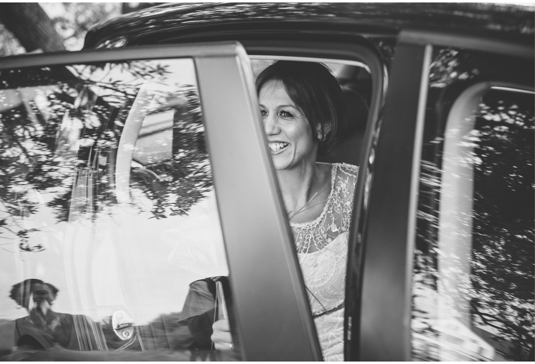 bride entering a car