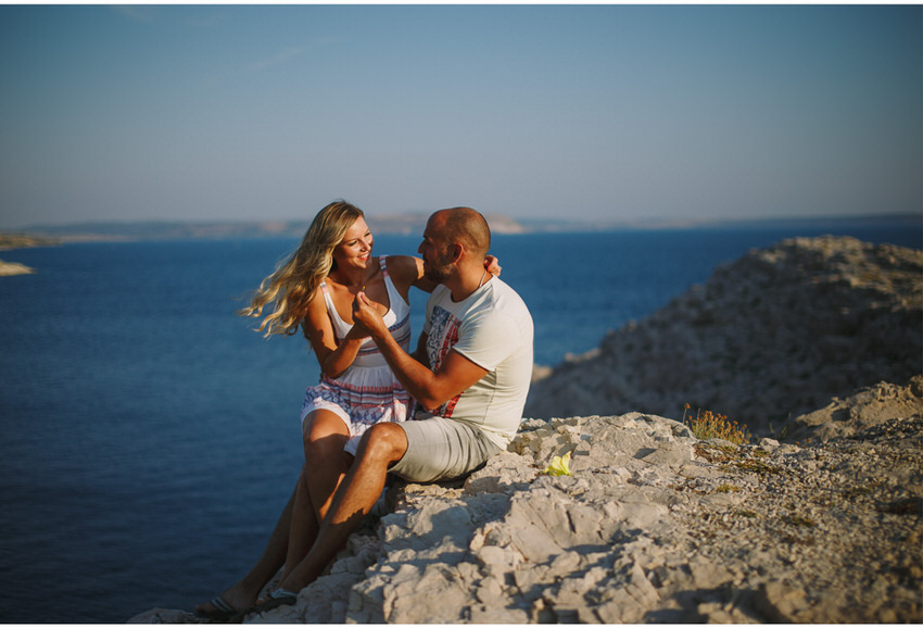 engaged couple on pag island
