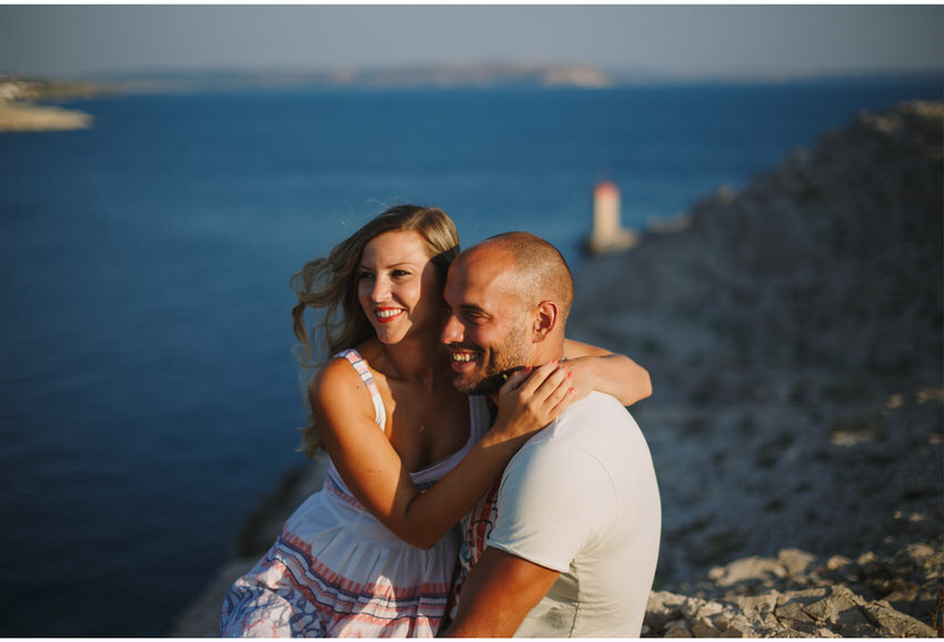 cute couple on pag engagement shoot