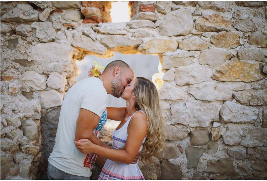 couple kiss on pag engagement