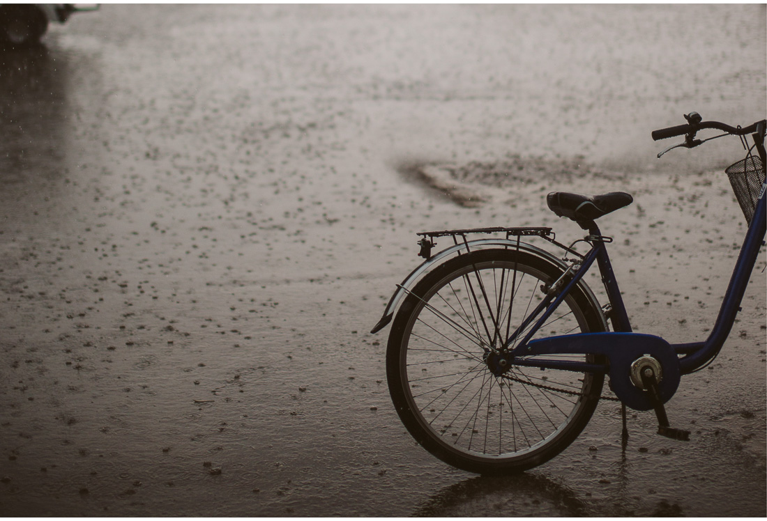 bike detail on a rainy day on brijuni