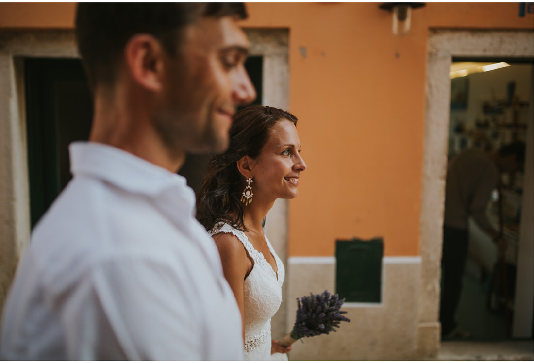 happy bride and groom in rovinj