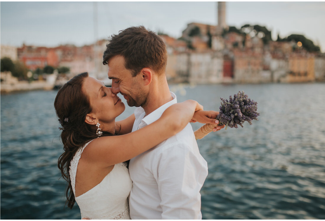bide and groom in rovinj port