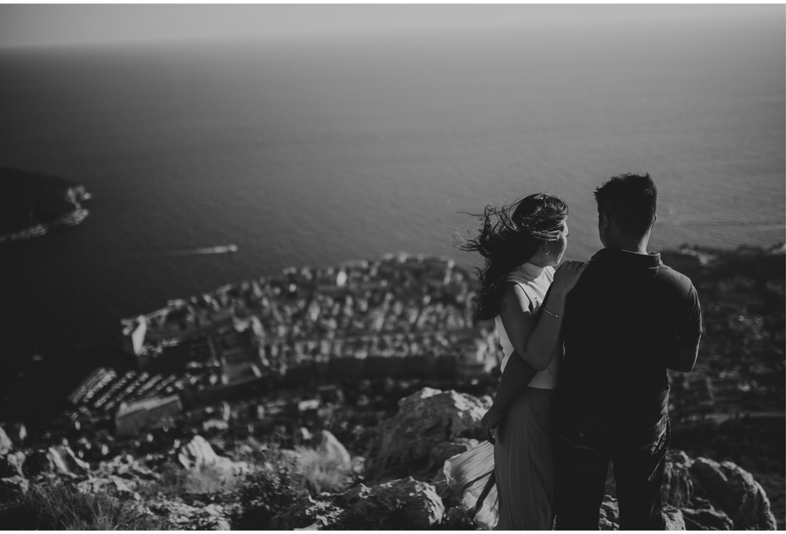 couple with a view on dubrovnik engagement photographer