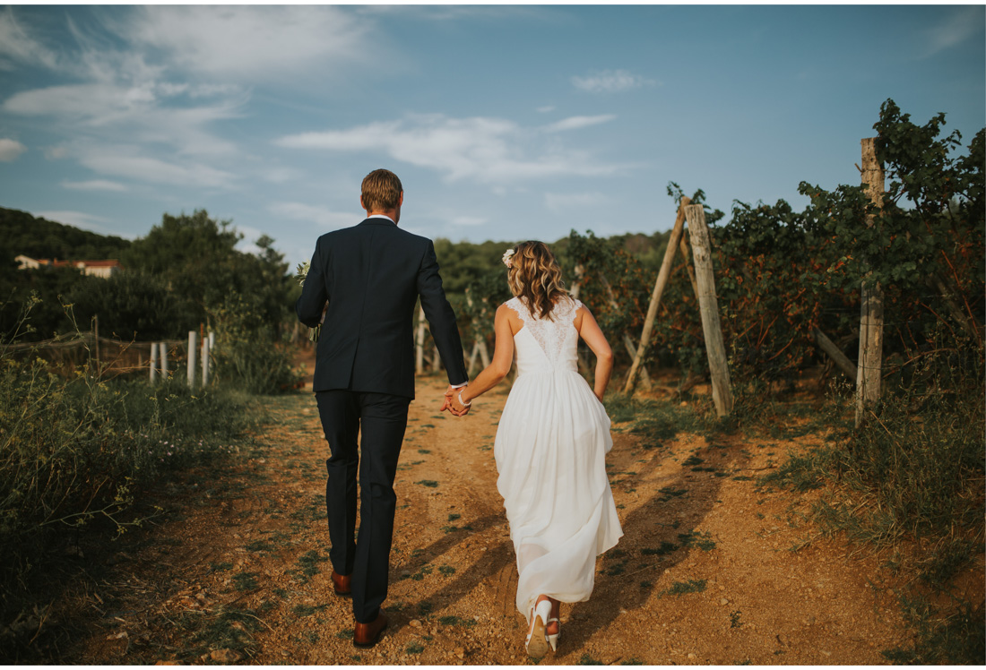 bride and groom walk