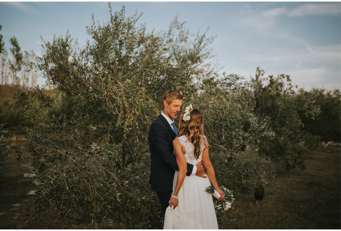 bride and groom olive trees