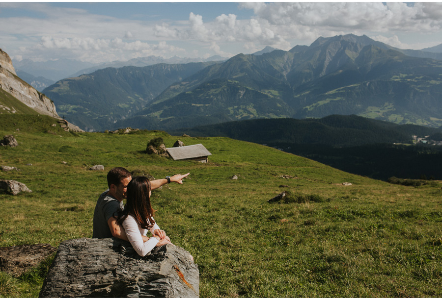 couple in swiss alps engagement