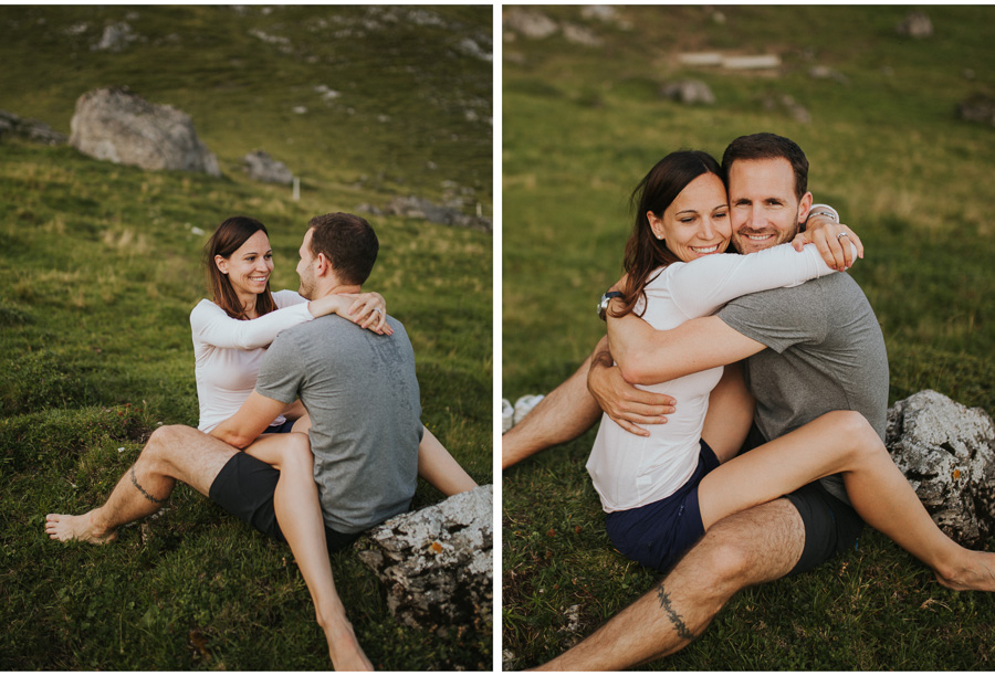 swiss alps barefoot couple engagement