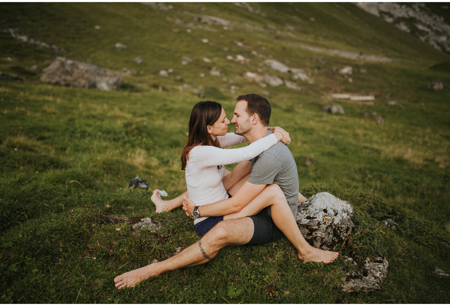 swiss alps barefoot couple