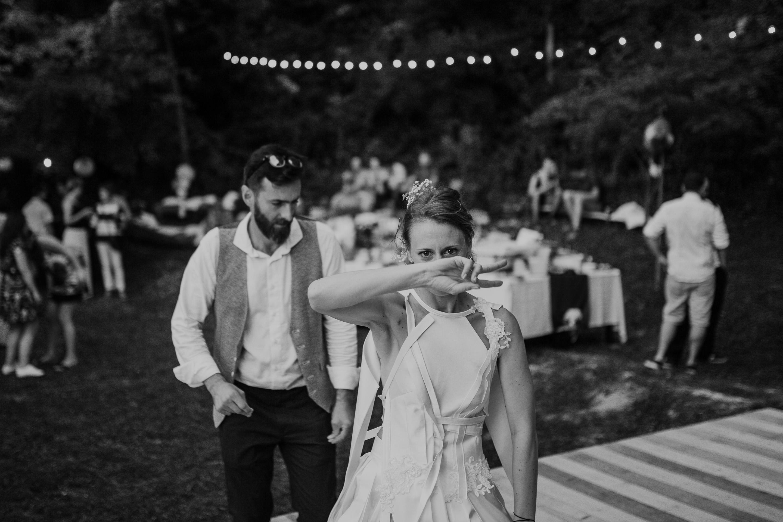 bride dance at a backyard wedding party