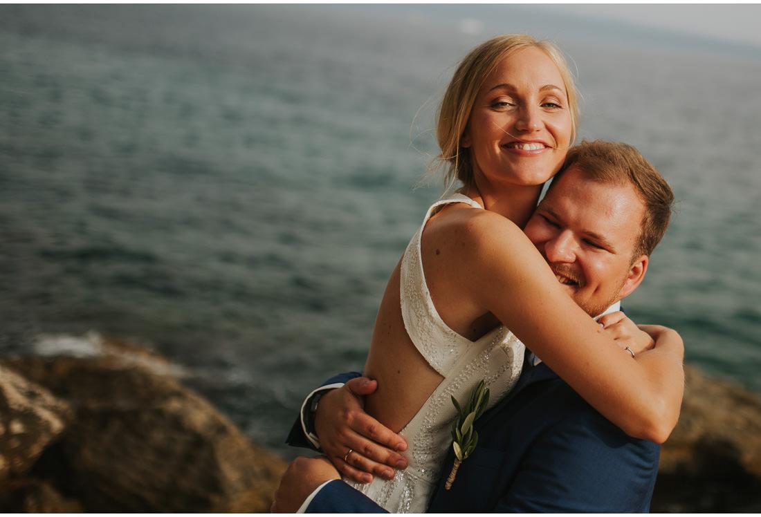 happy bride and groom in villa dalmacija wedding