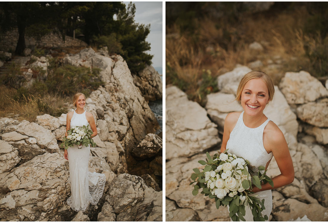 boho bride posing with flowers