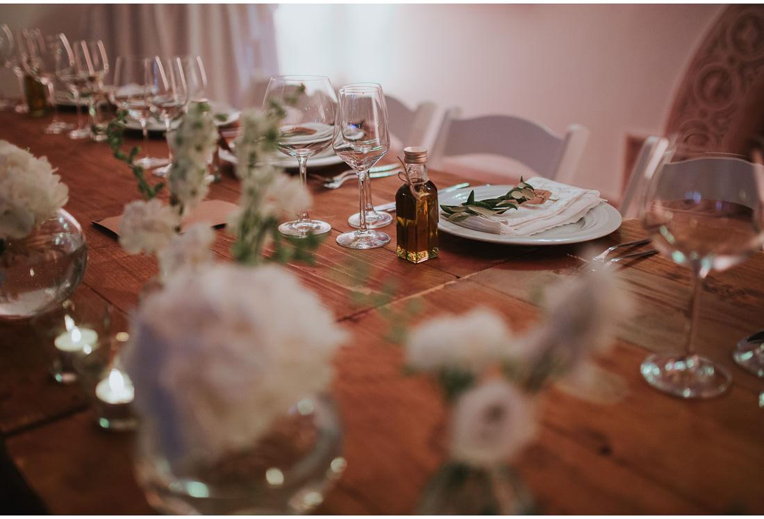dinner table at villa dalmacija wedding