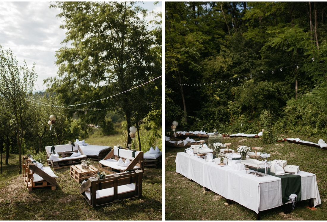 table setting at a outdoor backyard wedding party