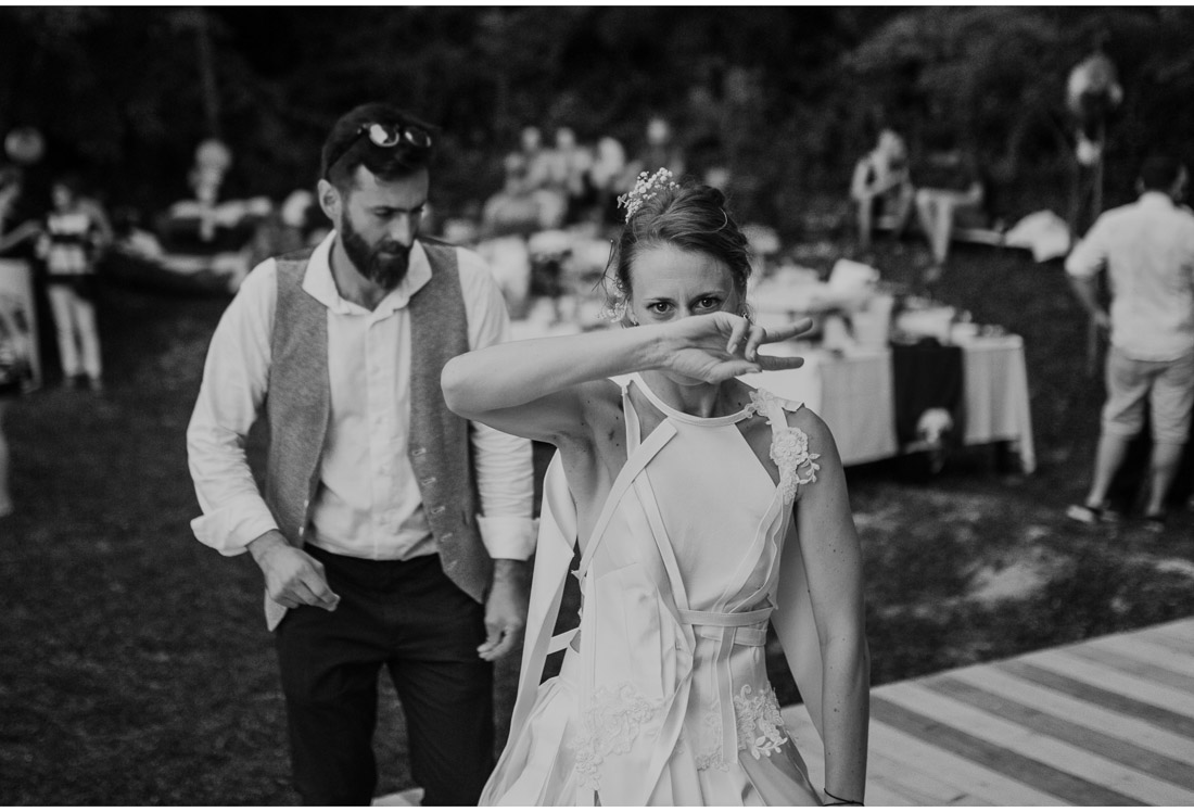 bride and groom first dance at a backyard wedding party