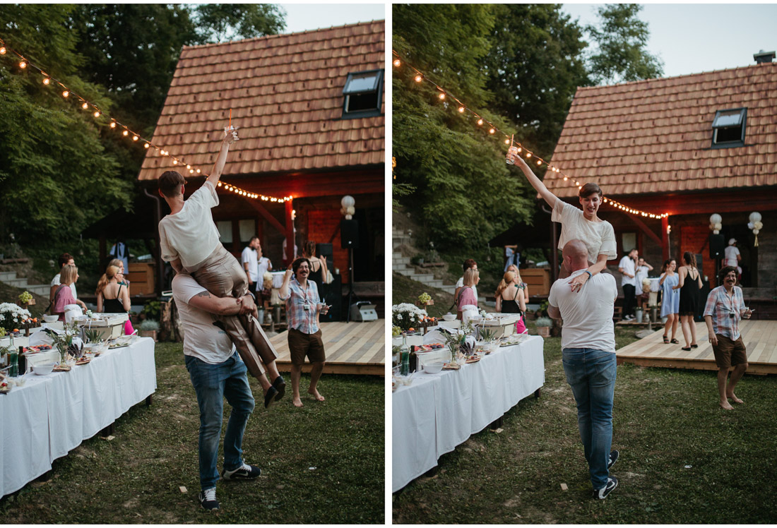 guests party hard at a backyard wedding party