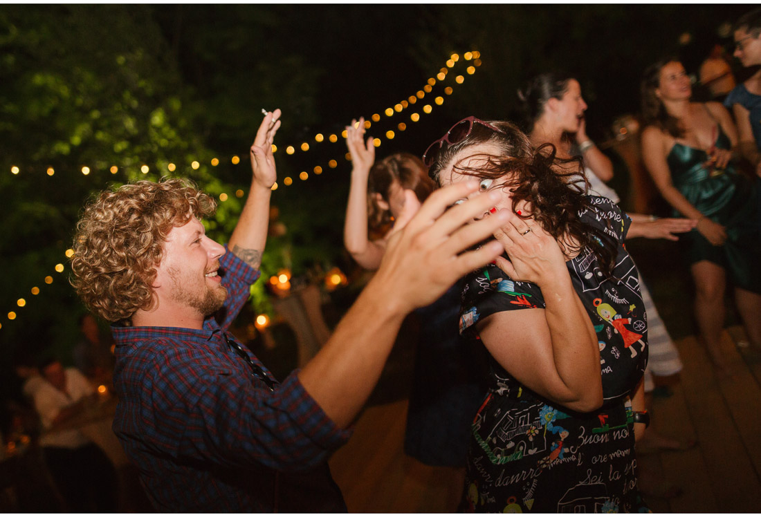 backyard wedding party guests dancing