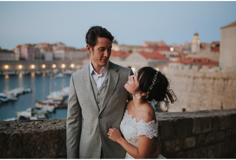 bride and groom at dubrovnik at dawn