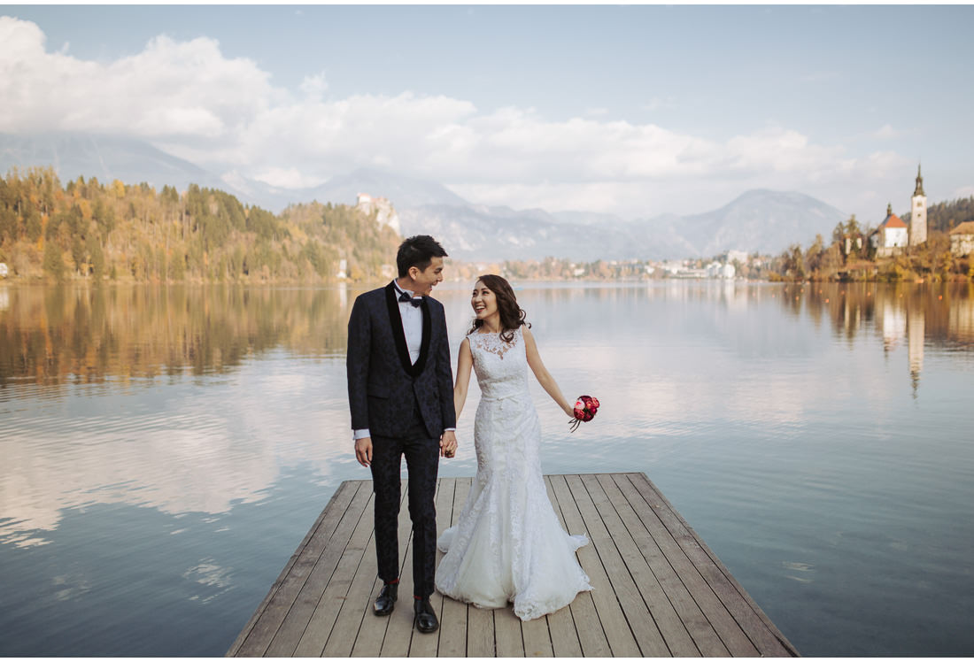 bride and groom on Lake Bled