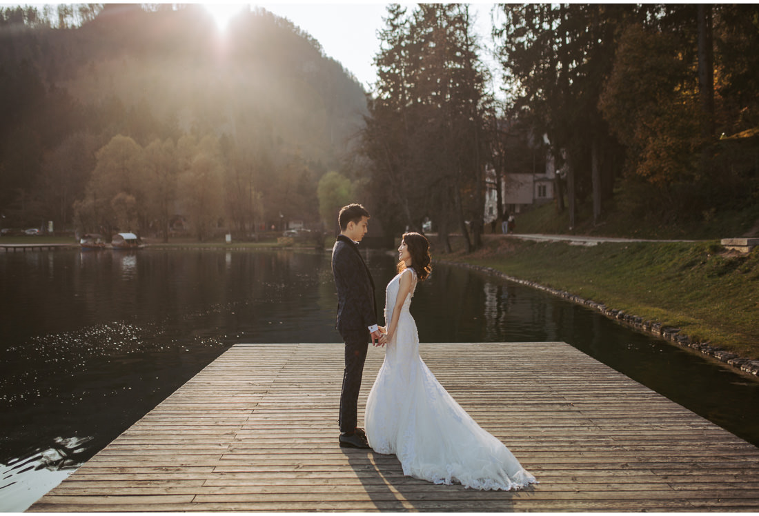 bride and groom on Lake Bled wedding