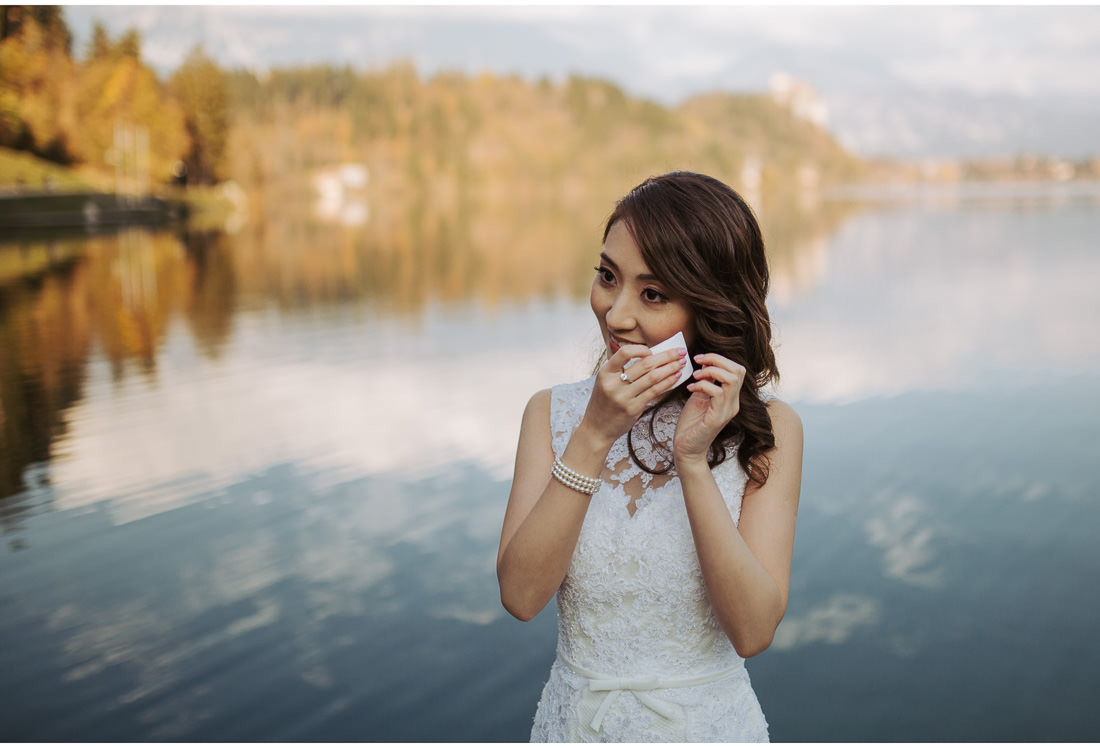 bride cry happy tears on Lake Bled wedding shoot