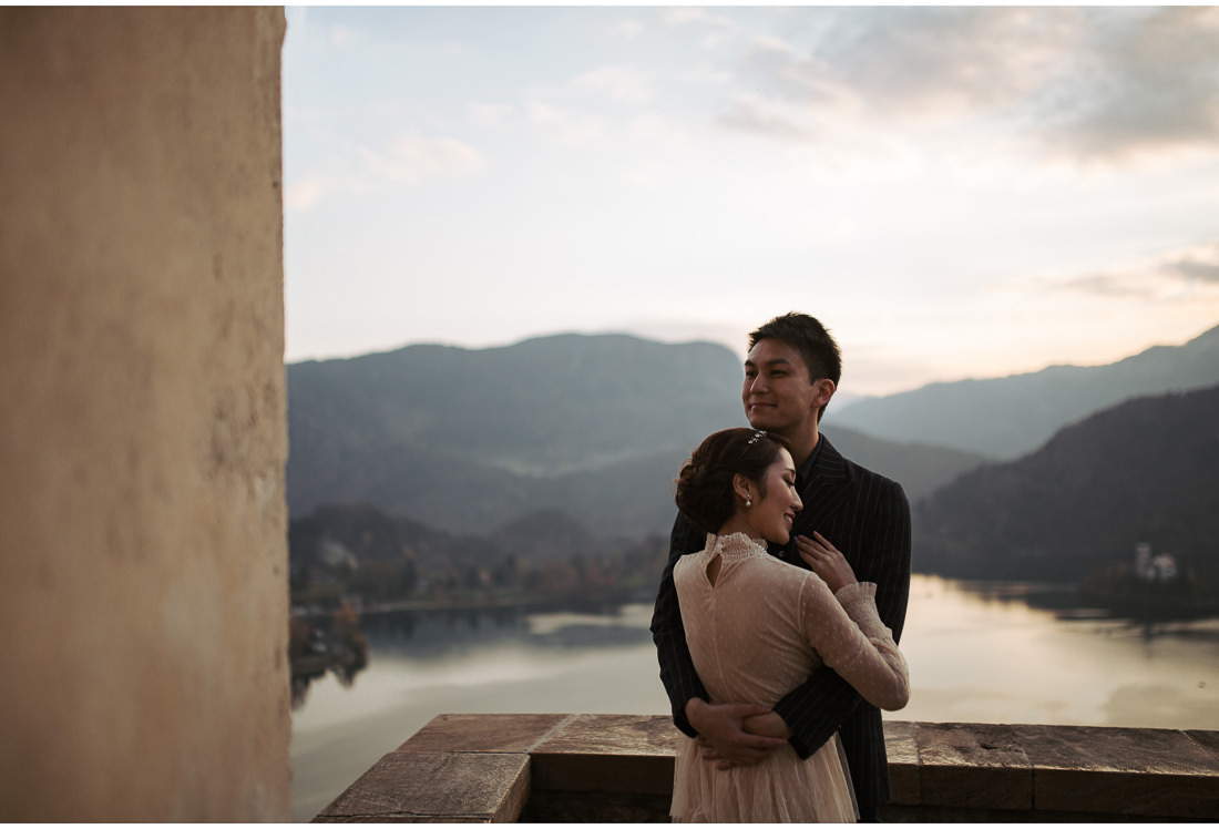 couple enjoying sunset on bled caste