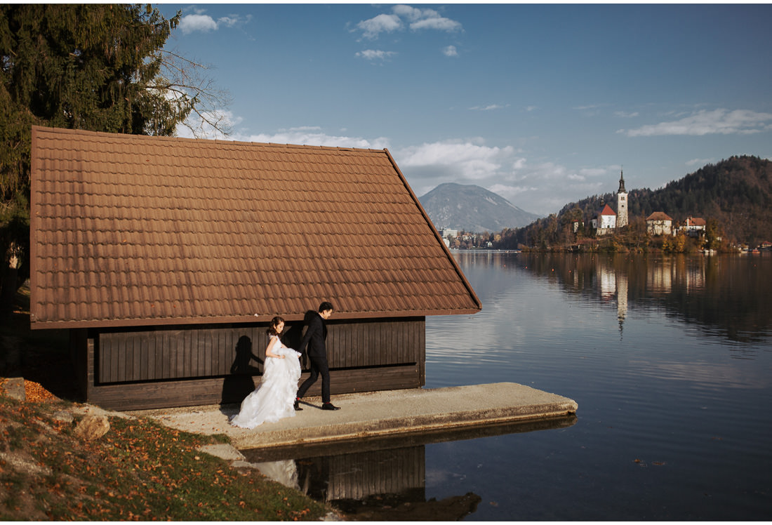 bride and groom Lake Bled
